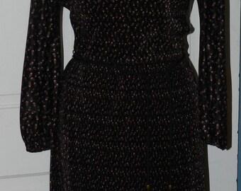 Vintage Black Border Print Dress - Size Small to Medium - Jo Hanna York