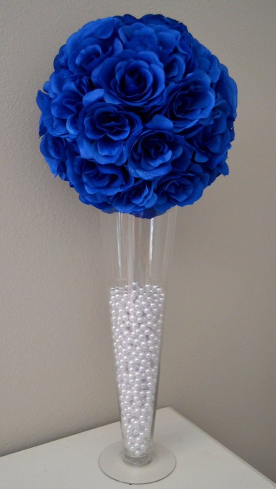ROYAL BLUE flower ball Wedding CENTERPIECE Wedding Decor