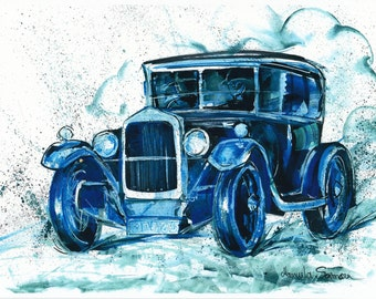 Vintage Car Painting  Downton Abbey Gift Fine Art Print Blue Painting Wall Art Car Watercolor Office Decor Old Car Drawing Car Art Decor