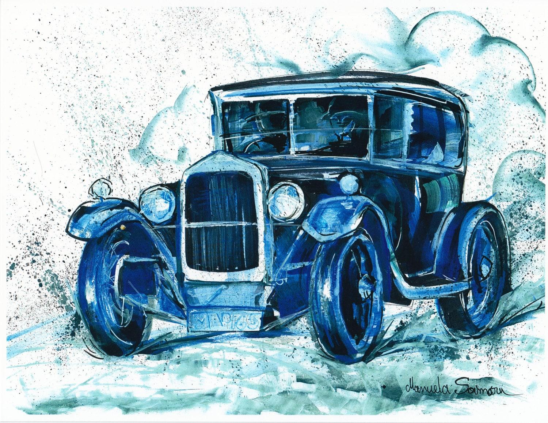 Car painting downton abbey gift fine art print blue wall art for Antique car decor