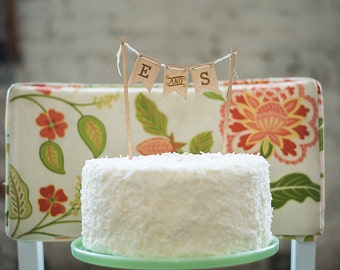 Bunting Cake Topper - Rustic Wedding - Custom Initials