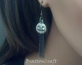 Silver Pumpkin Earrings - Silver Jack O'Lantern Earrings - Silver Dangle Pumpkin Earrings - Halloween Earrings - Halloween Jewelry - Samhain