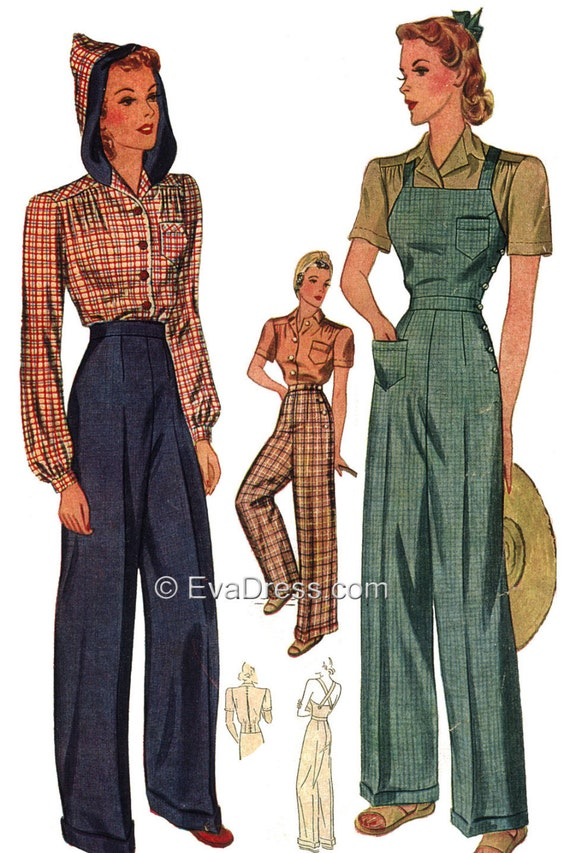 1940s Sewing Patterns – Dresses, Overalls, Lingerie etc 1940 Wide Leg Trousers and Overalls with Hooded Blouse Pattern by EvaDress $30.00 AT vintagedancer.com