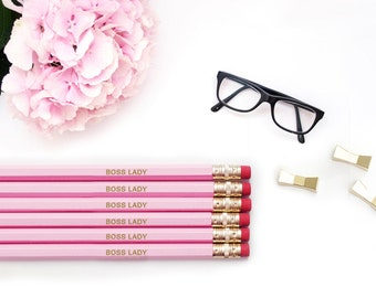 Personalized Pencils / BOSS LADY pencils / Like a Pink Gold Pencil Set / Engraved pencils / Gift For Her / Embossed Office Supplies