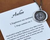Anchor Wax Seal Necklace - Hope Sustains Me - L'Esperance me soutient - 173