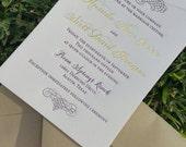 Letterpress Wedding Invitations Plum / Gold Foil DEPOSIT