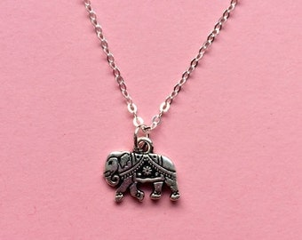 Elephant necklace - Silver elephant necklace - Sterling silver chain - TierraCast charm - holiday jewelry - Bohemian Design Studio UK