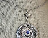 Claddagh Necklace Silver Locket Claddagh Necklace Claddagh Jewelry Photo Locket, Birthstone,Celtic Knot
