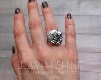 Nautilus shell ring, totem animal, sea creature, mermaid, fossil,