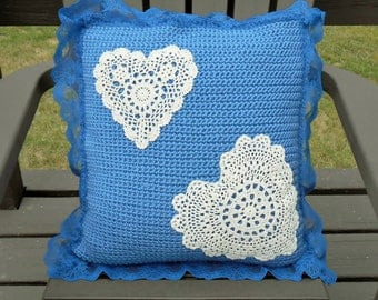 Blue Pillow Cover White Hearts Lace Border Handmade Crochet Reversible, Square Throw Pillow Cover With Buttons