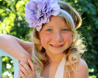 Vintage inspired lavender flower headband,lavender peony headband, large flower headband, lavender baby headband,flower girl headband