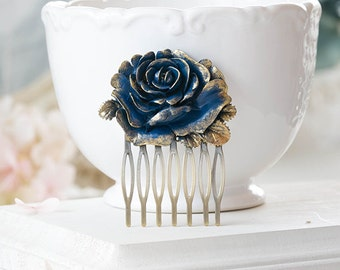 Dark Blue Rose Hair Comb Gold Navy Blue Flower Hair Comb Rustic Vintage Victorian Hair Accessory Navy Blue Wedding Bridal Comb Gothic Goth