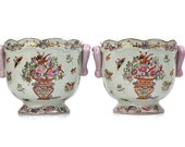 Pair of Chinese Cache Pots / Porcelain Jardinière / Yong Sheng Cai Ci Chang / Floral Home Decor / c1970s