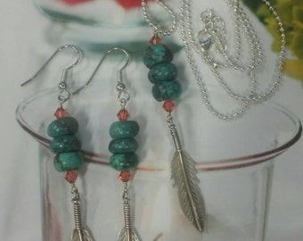 Turquoise rondelles & Swarovski crystals necklace set, sterling silver feathers, feather jewelry, southwest jewelry, turquoise jewelry