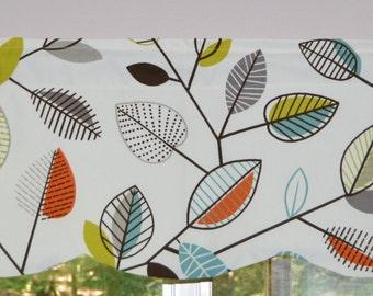 Kitchen Curtain / Valance . Scalloped Covington Carson Fiesta Leaf Design . FULLY Lined . Beautiful Handmade by SeamsOriginal