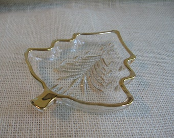 Mikasa Glass Christmas Tree Dish Nut Dish Candy Dish Clear with Gold Trim Holiday Party Dish MyVintageTable