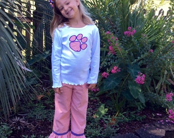 CLEMSON HOUNDSTOOTH PANT set -3 sleeve options! orange houndstooth ruffled pants with appliqued top... short, long, or tank