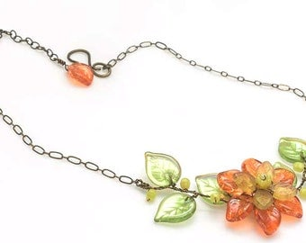 Orange Flower Necklace, Summer Leaf Necklace, Twisted Wire Flower Vine Necklace, Rustic Wedding Jewelry, Nature Jewelry