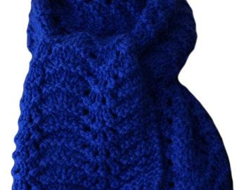 Hand Knit Scarf - Royal Blue Feather and Fan Lace Alpaca