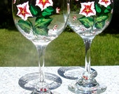 Hand Painted Wine Glasses With Red Flowers And Wine Glass Charms, Mother's Day Gifts, Birthday Gift, Anniversary Gift