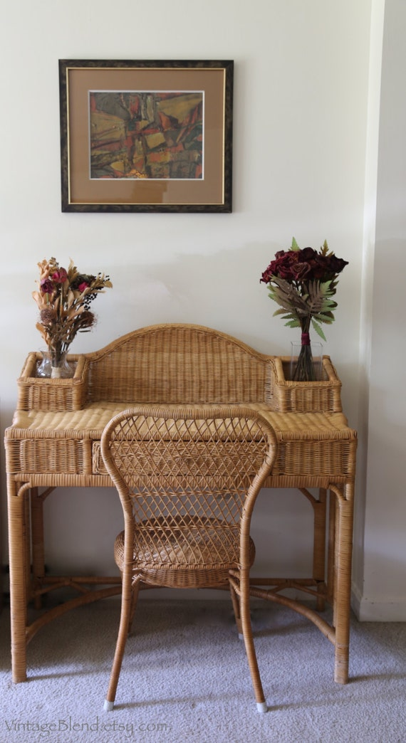 Wicker Desk With Chairrattan Furniture Computer Table