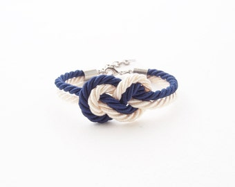 Navy blue - Ivory cream - bridesmaid bracelet - will you be my bridesmaid bracelet - tie the knot bracelet -nautical wedding gift - infinity