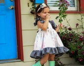 Floral Pink and Gray Ruffle Dress... Peach and Charcoal Little Girl Dress.... Back to School Dress.... Toddler Dress.... Baby Girl Dress
