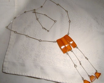 Ultramodern Amber & White Metal Dangly Necklace 1960s Hand Made Three Drops