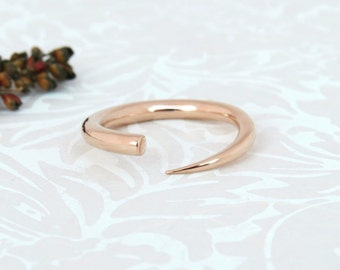 Rose Gold Ring, 14k Rose Gold ring, Unique Gold Ring, Minimalist 14k Gold Band, Modern, Everyday, Handmade, Shiny 14k Solid Gold Ring.