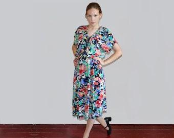 80s dress Floral dress Batwing dress Midi dress 80s clothing