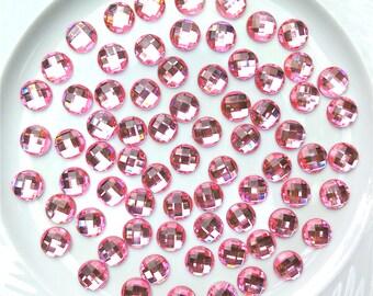 SALE - 20 pcs - Pink Round Acrylic Rhinestone Faceted Flatback Cabochon - 14mm - Decoden - DIY - Scrapbooking