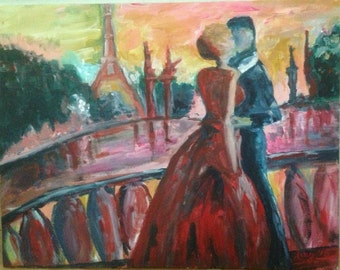 Paris Lovers Kissing on The River Seine 11x14