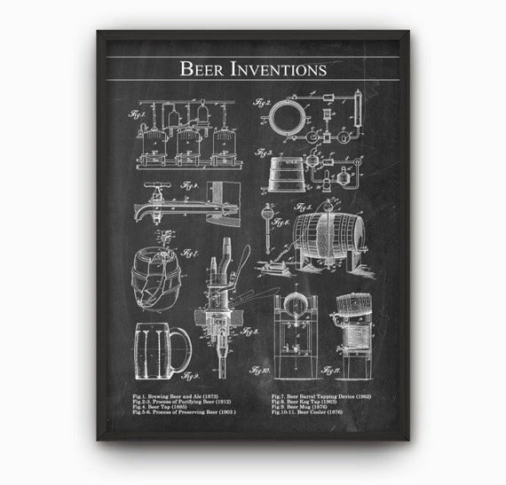 Beer Inventions Wall Art Poster Beer Patent Wall Art
