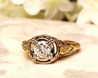 Vintage Jabel Engagement Ring 0.50ct Diamond Wedding Ring 18K Gold Filigree Art Deco Style Jabel Ring Vintage Bridal Jewelry Size 6