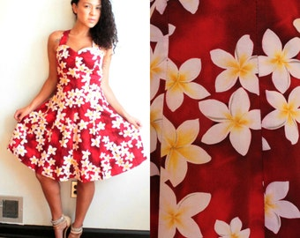 Vintage Royal Creations Hawaiian Dress// 1980's 1990's Red and White Floral Print// Size XS Small Floral Cotton Day Dress// Tropical Print