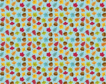 Fall Fabric, Riley Blake C4034 Blue, Happy Harvest, Doodlebug Designs, Autumn Fabric, Leaves & Acorns, Fall Quilt Fabric, Light Blue Cotton