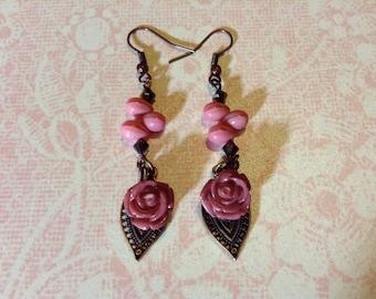 Dusty Rose Earrings, Vintage Inspired, Elegant Earrings, Dangle & Drop Earrings, Perfect Gift Item