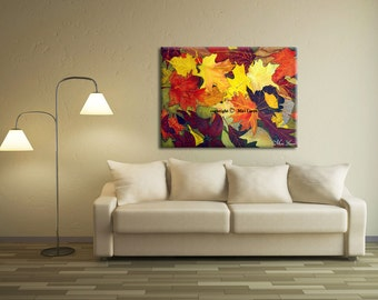 Living Room Wall Art, Abstract Art Print, Abstract Canvas Landscape Art, Abstract Canvas Art, Abstract Landscape Living Room Art. Leaf Art