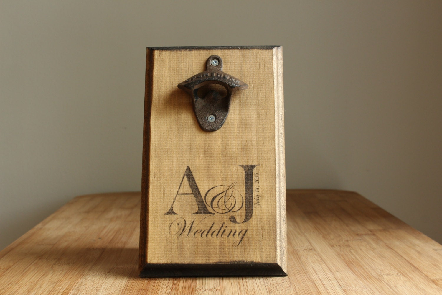 Personalized wall mount rustic bottle opener wedding date - Personalized wall mount bottle opener ...