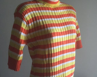 "Spunky ""How's Tricks?"" Vintage 1960s Tri-Color Striped Sweater, size S/M"