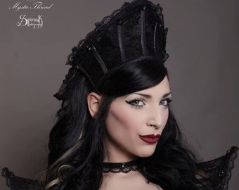 Black lace gothic victorian costume queen crown with crystals