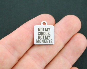 Monkeys Stainless Steel Charm - Not My Circus, Not My Monkeys - Exclusive Line - Quantity Options  - BFS577
