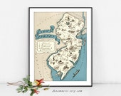 NEW JERSEY MAP - Instant Digital Download - printable vintage state map for framing, totes, cards, mugs, tags - fun pictorial map wall decor