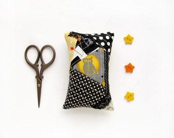 Owl Pincushion, patchwork OOAK pincushion, pin cushion black polka dots, small yellow Halloween gift  needle holder
