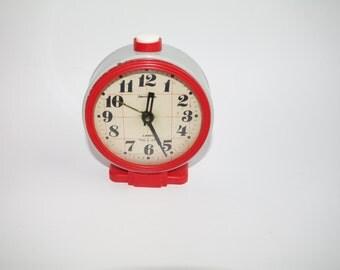 "Jantar Soviet Desk Clock Old Russian Mod Alarm Clock ""Yantar"" Soviet Union, Home Decor, Office Clock Red Grey, working Made in Russian"