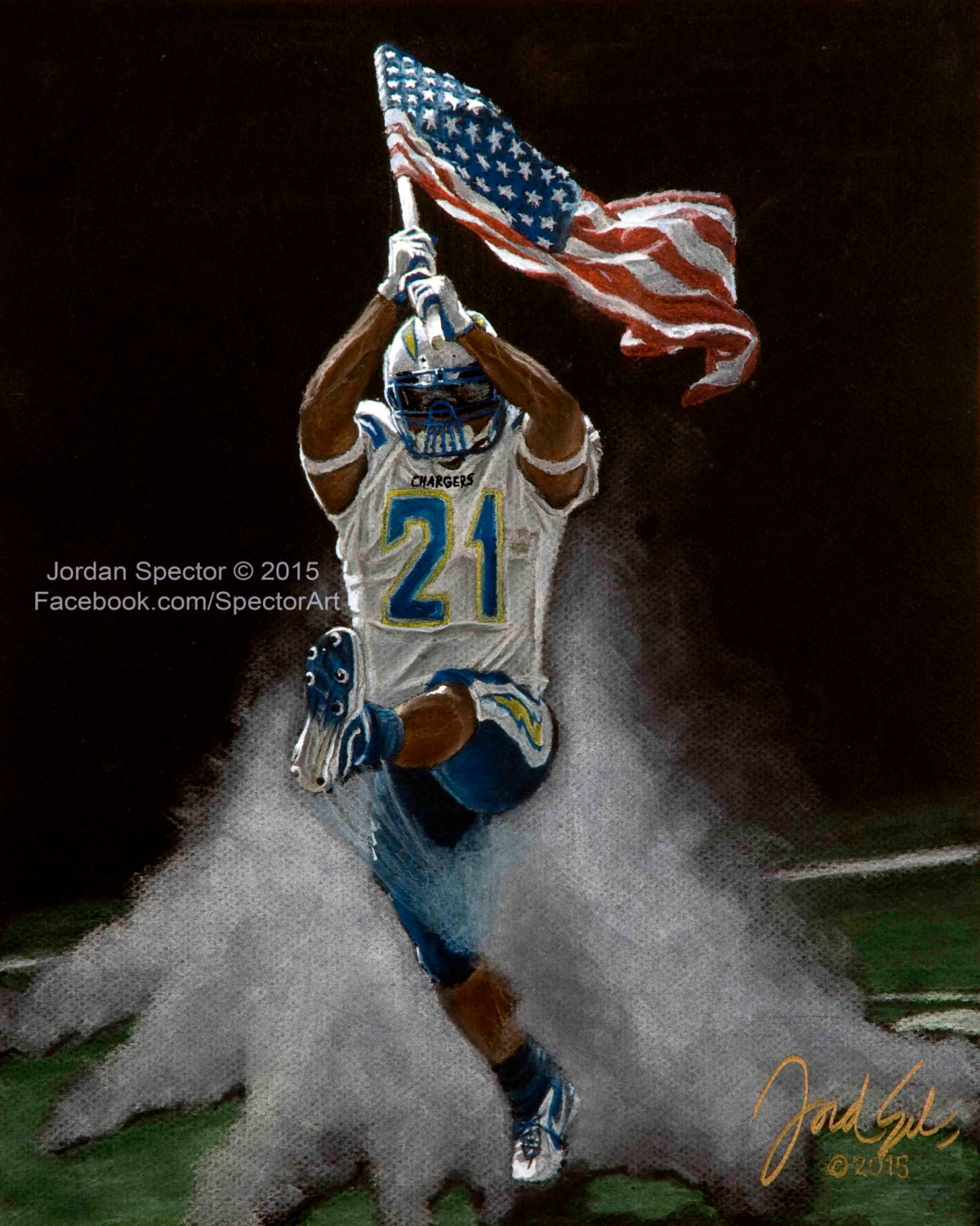 San Diego Chargers Drawings: San Diego Chargers Ladainian Tomlinson Art Print By SpectorArt