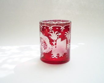 Red Glass Votive Candle Holder Votive Holder Cut to Clear Red Bohemian Glass Toothpick Holder