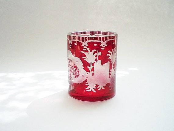 red glass votive candle holder votive holder cut by vintagebiffann. Black Bedroom Furniture Sets. Home Design Ideas