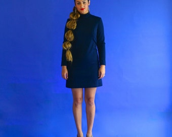 navy scooter dress / wool blue mod dress/ 1960s/ small - medium
