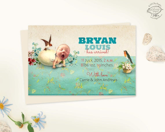 Baby Boy Birth Announcement Personalized Photo Card by SkyGoodies – Vintage Birth Announcement